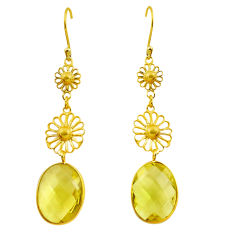 15.74cts natural lemon topaz 925 sterling silver 14k gold dangle earrings p87328