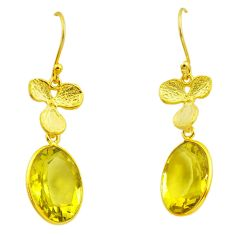 9.82cts natural lemon topaz 925 sterling silver 14k gold dangle earrings p87348