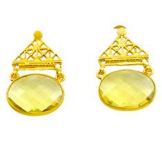 16.94cts natural lemon topaz 925 sterling silver 14k gold dangle earrings p87389