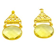 16.69cts natural lemon topaz 925 sterling silver 14k gold dangle earrings p87391