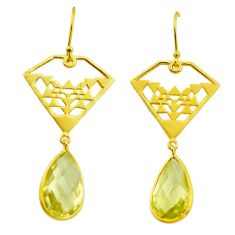 11.38cts natural lemon topaz 925 sterling silver 14k gold dangle earrings p87500