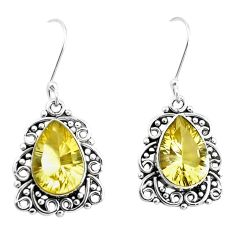 11.89cts natural lemon topaz 925 sterling silver dangle earrings jewelry p39463