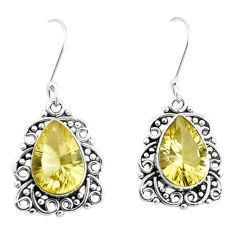 11.89cts natural lemon topaz 925 sterling silver dangle earrings jewelry p39482