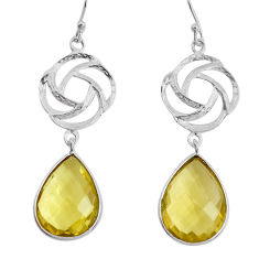 19.29cts natural lemon topaz 925 sterling silver dangle earrings jewelry p43535
