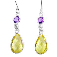 14.91cts natural lemon topaz amethyst 925 sterling silver dangle earrings p47989