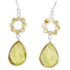 18.15cts natural lemon topaz citrine 925 sterling silver dangle earrings p43573