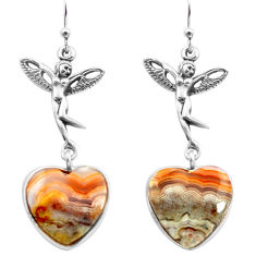 Natural mexican laguna lace agate 925 silver angel wings fairy earrings p72511