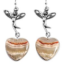 Natural mexican laguna lace agate 925 silver angel wings fairy earrings p91871