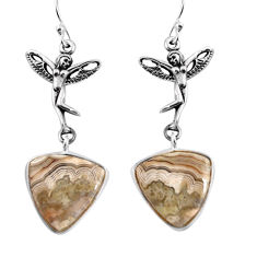 Natural mexican laguna lace agate 925 silver angel wings fairy earrings p91872