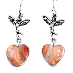 Natural mexican laguna lace agate 925 silver angel wings fairy earrings p91875