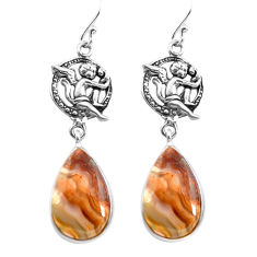 Natural mexican laguna lace agate 925 silver cupid angel wings earrings p72512