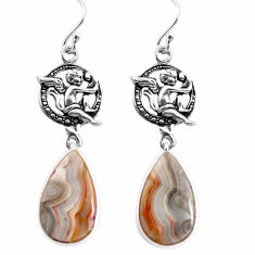 Natural mexican laguna lace agate 925 silver cupid angel wings earrings p91870