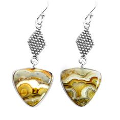 11.73cts natural mexican laguna lace agate 925 silver dangle earrings p72515