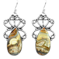 18.94cts natural mexican laguna lace agate 925 silver dangle earrings p72666