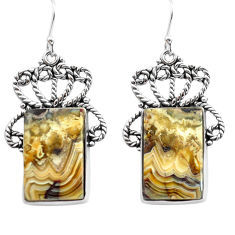 24.73cts natural mexican laguna lace agate 925 silver dangle earrings p72673