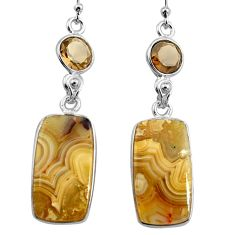 19.12cts natural mexican laguna lace agate 925 silver dangle earrings p78605