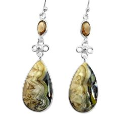 19.73cts natural mexican laguna lace agate 925 silver dangle earrings p78608