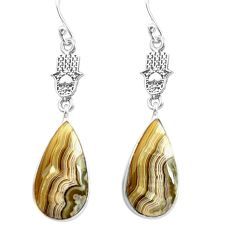 Natural mexican laguna lace agate 925 silver hand of god hamsa earrings p72514