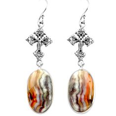 17.57cts natural mexican laguna lace agate 925 silver holy cross earrings p72600
