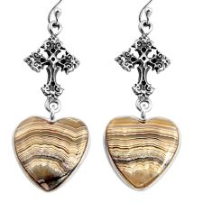 14.72cts natural mexican laguna lace agate 925 silver holy cross earrings p91874