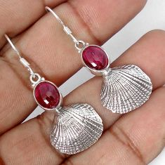 NATURAL MOZAMBIQUE RED GARNET 925 SILVER SEASHELL DANGLE EARRINGS JEWELRY G82284