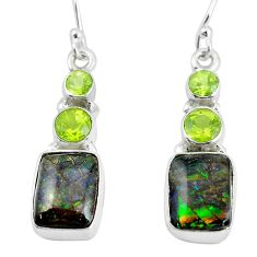 10.78cts natural multi color ammolite (canadian) 925 silver earrings p64643