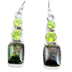 10.78cts natural multi color ammolite (canadian) 925 silver earrings p64646