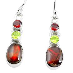 9.18cts natural multi color ammolite (canadian) 925 silver earrings p64647