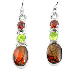 8.73cts natural multi color ammolite (canadian) 925 silver earrings p64648