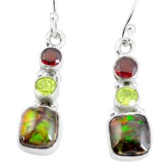 8.73cts natural multi color ammolite (canadian) 925 silver earrings p64653