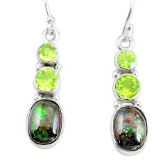 9.18cts natural multi color ammolite (canadian) 925 silver earrings p64654