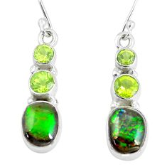 9.61cts natural multi color ammolite (canadian) 925 silver earrings p64659