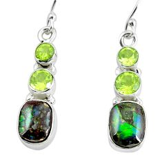 9.61cts natural multi color ammolite (canadian) 925 silver earrings p64663