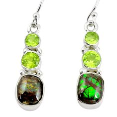 8.75cts natural multi color ammolite (canadian) 925 silver earrings p64667