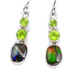 9.18cts natural multi color ammolite (canadian) 925 silver earrings p64671