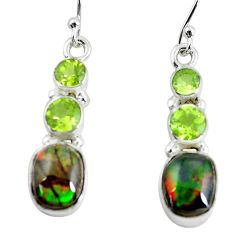 9.49cts natural multi color ammolite (canadian) 925 silver earrings p64675