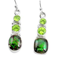 10.02cts natural multi color ammolite (canadian) 925 silver earrings p64680