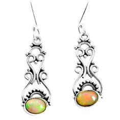 4.22cts natural multi color ethiopian opal 925 silver dangle earrings p35522