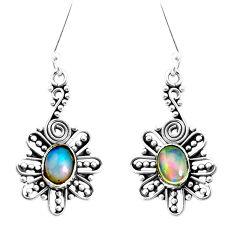 3.75cts natural multi color ethiopian opal 925 silver dangle earrings p35551