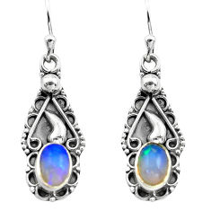 2.82cts natural multi color ethiopian opal 925 silver dangle earrings p80803