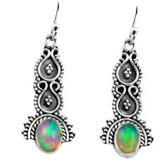 3.18cts natural multi color ethiopian opal 925 silver dangle earrings p80805