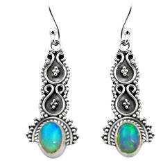 3.22cts natural multi color ethiopian opal 925 silver dangle earrings p80806