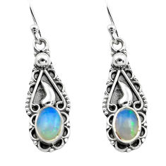 2.82cts natural multi color ethiopian opal 925 silver dangle earrings p80814