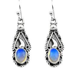 2.82cts natural multi color ethiopian opal 925 silver dangle earrings p80815
