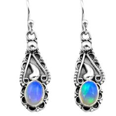 3.03cts natural multi color ethiopian opal 925 silver dangle earrings p80818