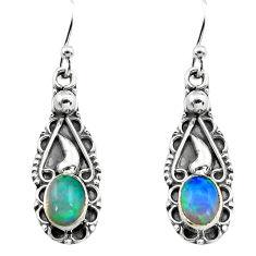 3.03cts natural multi color ethiopian opal 925 silver dangle earrings p80819