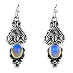 2.92cts natural multi color ethiopian opal 925 silver dangle earrings p80822