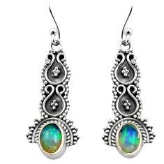 2.92cts natural multi color ethiopian opal 925 silver dangle earrings p80823