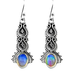 2.92cts natural multi color ethiopian opal 925 silver dangle earrings p80825