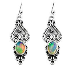 2.92cts natural multi color ethiopian opal 925 silver dangle earrings p80827